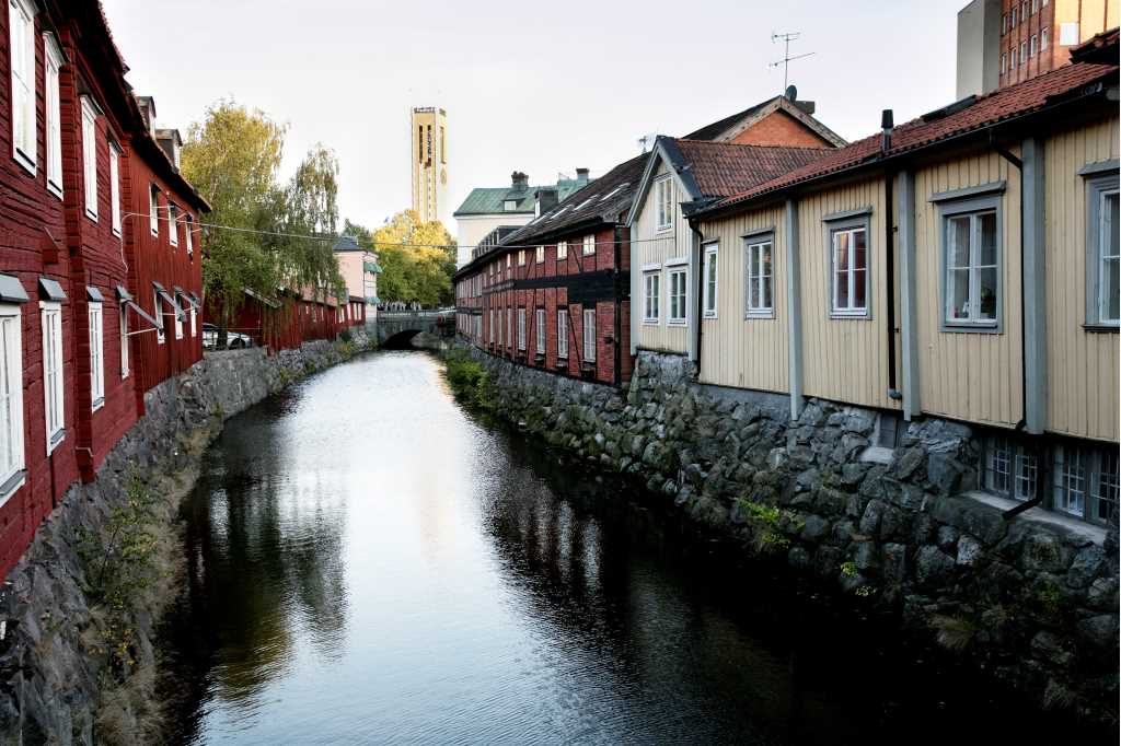 The photo shows a part of the old town in Västerås.